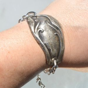 Antique Silver Cuff Bracelet Upcycle Handmade OOAK